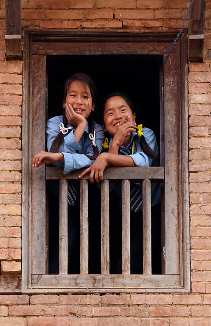 School kids in Panauti village, nepal