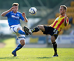 St Johnstone v Partick Thistle...28.09.13      SPFL<br /> Paddy Cregg and Callum Higginbotham<br /> Picture by Graeme Hart.<br /> Copyright Perthshire Picture Agency<br /> Tel: 01738 623350  Mobile: 07990 594431