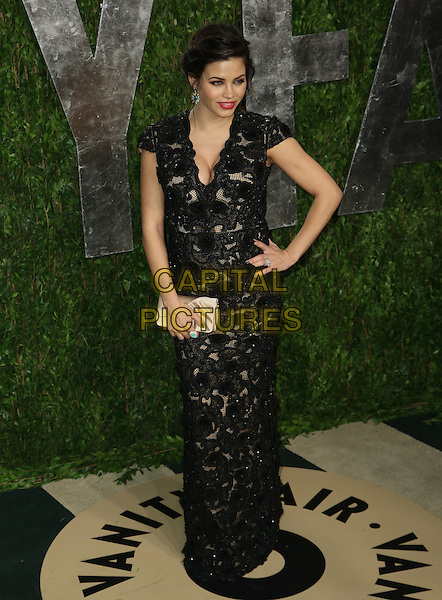 Jenna Dewan-Tatum.2013 Vanity Fair Oscar Party following the 85th Academy Awards held at the Sunset Tower Hotel, West Hollywood, California, USA..February 24th, 2013.oscars full length black dress pregnant hand on hip clutch bag gold silk satin lace .CAP/ADM/SLP/DOW.©Dowling/StarlitePics/AdMedia/Capital Pictures