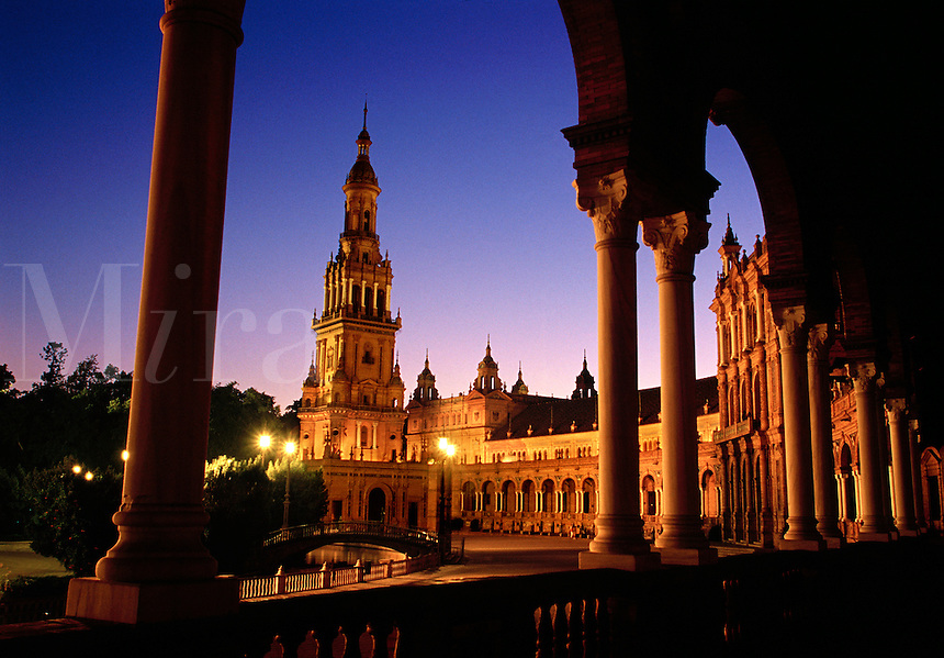 Plaza de Espana at twilight Seville Spain.