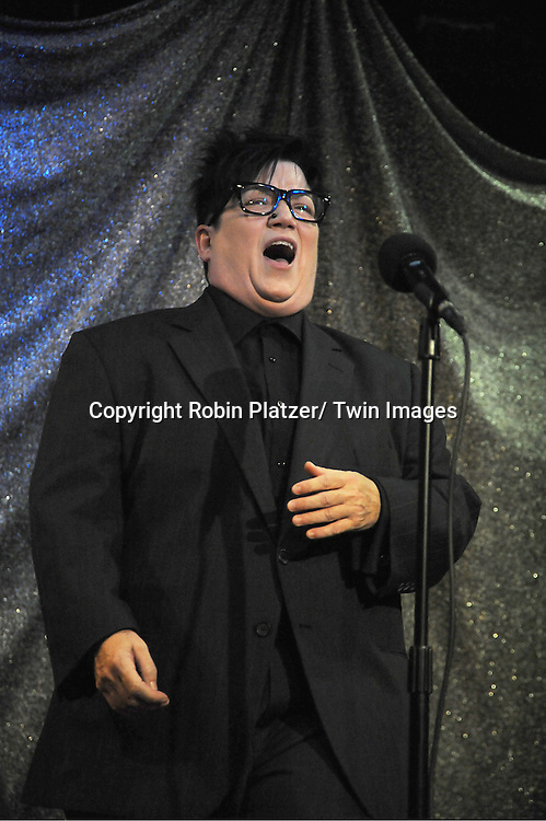 """Lea DeLaria singing at The """"Daytime Meets Nighttime"""" hosted by .The Imperial Court of New York on November 4, 2011 at .The Jan Hus Theatre in New York City. The benefit was for The Jan Hus Theatre and Lifebeat."""