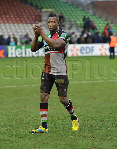 12.01.2013 London, England. Ugo Monye after his 200th game for Harlequins in the Heineken Cup game between Harlequins and Connacht Rugby from The Stoop.