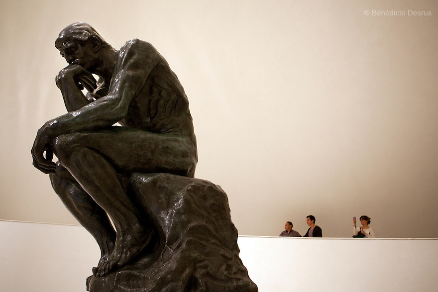 May 14, 2011 - Mexico City, Mexico - French sculptor Auguste Rodin's sculpture, The Thinker. Mexican billionaire Carlos Slim newly built museum Soumaya that houses his art collection which includes the second largest grouping of Rodin sculptures. It also holds many of the best known European artists from the 15th to the 20th Century, Mexican art, religious relics, historical documents and coins. Designed by Slim's 38-year old son-in-law, Fernando Romero, the six-floor, 183,000 square-foot Soumaya Museum is shaped like a wonky futuristic hourglass layered with 16 000 aluminum hexagons. The $34 million museum is part of an enormous complex including headquarters for the magnate's telecom corporations Grupo Carso and Telcel, a shopping mall and luxury apartment housing. The Museum opened to public in march 2011 and it is located in Polanco Plaza Carso of Mexico City. Photo crédito: Benedicte Desrus