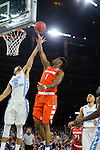 02 APR 2016: Guard Franklin Howard (1) of Syracuse University lays up a shot over Guard Marcus Paige (5) of the University of North Carolina during the 2016 NCAA Men's Division I Basketball Final Four Semifinal game held at NRG Stadium in Houston, TX. North Carolina defeated Syracuse 83-66 to advance to the championship game.  Brett Wilhelm/NCAA Photos