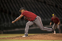 AZL Diamondbacks relief pitcher Ezequiel De La Cruz (14) follows through on his delivery during an Arizona League game against the AZL Cubs 1 at Sloan Park on June 18, 2018 in Mesa, Arizona. AZL Diamondbacks defeated AZL Cubs 1 7-0. (Zachary Lucy/Four Seam Images)