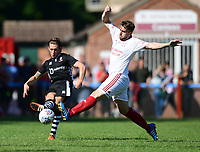 Lincoln City's James Rowe under pressure from Lincoln United's Matt Cotton<br /> <br /> Photographer Chris Vaughan/CameraSport<br /> <br /> Football - Pre-Season Friendly - Lincoln United v Lincoln City - Saturday 8th July 2017 - Sun Hat Villas Stadium - Lincoln<br /> <br /> World Copyright &copy; 2017 CameraSport. All rights reserved. 43 Linden Ave. Countesthorpe. Leicester. England. LE8 5PG - Tel: +44 (0) 116 277 4147 - admin@camerasport.com - www.camerasport.com