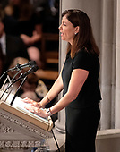 Former United States Senator Kelly Ayotte (Republican of New Hampshire) reads a passage at the funeral service for the late United States Senator John S. McCain, III (Republican of Arizona) at the Washington National Cathedral in Washington, DC on Saturday, September 1, 2018.<br /> Credit: Ron Sachs / CNP<br /> <br /> (RESTRICTION: NO New York or New Jersey Newspapers or newspapers within a 75 mile radius of New York City)