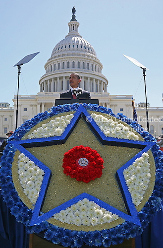 United States President Barack Obama speaks at the 29th Annual Peace Officers' Memorial held on the grounds of the U.S. Capitol, Saturday, May 15, 2010. The event, organized by the Grand Lodge Fraternal Order of Police, honors those that have died in the line of duty during the past year..Credit: Martin H. Simon - Pool via CNP