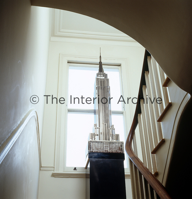 A model of the Empire State Building - which is actually a light- dominates the landing