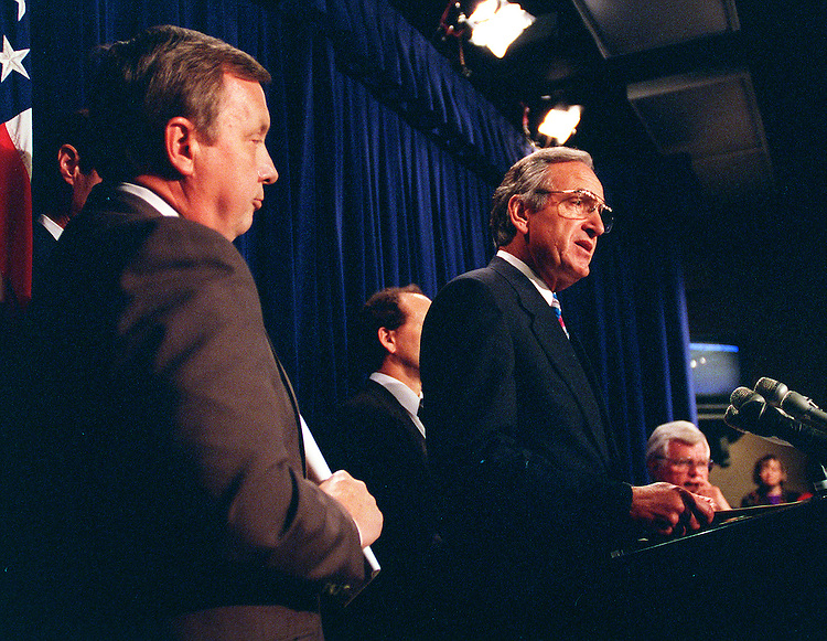 9/17/97.TOBACCO SETTLEMENT--Tom Harkin,D-Iowa,talks to the media during a press conference in responce to President Clinton's tobacco announcement..CONGRESSIONAL QUARTERLY PHOTO BY DOUGLAS GRAHAM