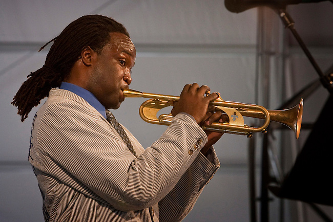 New Orleans jazz trumpeter and songwriter Shamarr Allen performs on the WWOZ Jazz Tent stage on the last day at the New Orleans Jazz and Heritage Festival at the New Orleans Fair Grounds Race Course in New Orleans, Louisiana, USA, 3 May 2009.