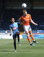 Blackpool's Oliver Turton under pressure from Wycombe Wanderers' Randell Williams<br /> <br /> Photographer Kevin Barnes/CameraSport<br /> <br /> The EFL Sky Bet League One - Wycombe Wanderers v Blackpool - Saturday 4th August 2018 - Adams Park - Wycombe<br /> <br /> World Copyright &copy; 2018 CameraSport. All rights reserved. 43 Linden Ave. Countesthorpe. Leicester. England. LE8 5PG - Tel: +44 (0) 116 277 4147 - admin@camerasport.com - www.camerasport.com