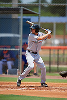GCL Marlins designated hitter Davis Bradshaw (27) at bat during a game against the GCL Mets on August 3, 2018 at St. Lucie Sports Complex in Port St. Lucie, Florida.  GCL Mets defeated GCL Marlins 3-2.  (Mike Janes/Four Seam Images)