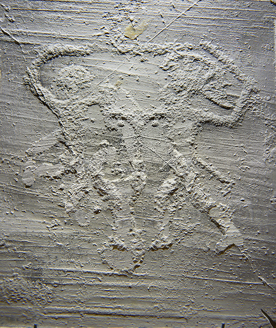 Cast of a prehistoric Petroglyph, rock carving, of two warriors dueling with swords, and shileds carved by the Camunni people in the iron age between 1000-1600 BC , Foppid di Madro Rock 6, Seradina-Bedolina Archaeological Park Museum, Valle Comenica, Lombardy, Italy