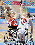 November 18 2011 - Guadalajara, Mexico:   Jessica Vliegenthart of Team Canada looks to make a pass while taking on Team USA in the Gold Medal Game in the CODE Alcalde Sports Complex at the 2011 Parapan American Games in Guadalajara, Mexico.  Photos: Matthew Murnaghan/Canadian Paralympic Committee