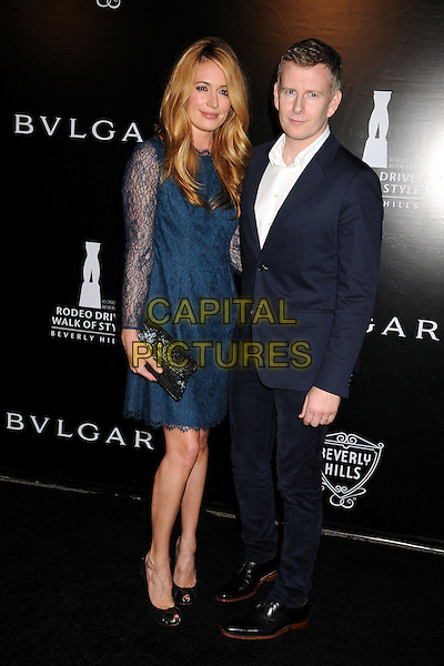 Cat Deeley & Patrick Kielty.Rodeo Drive Walk of Style 2012 held on Rodeo Dr., Beverly Hills, California, USA..December 5th, 2012 .full length blue lace dress black clutch bag peep toe shoes suit white shirt married husband wife .CAP/ADM/BP.©Byron Purvis/AdMedia/Capital Pictures.
