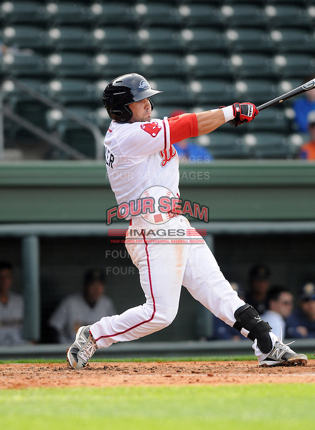 Infielder Mike Miller (2) of the Greenville Drive in a game against the Charleston RiverDogs on Saturday, April 6, 2013, at Fluor Field at the West End in Greenville, South Carolina. Charleston won Game 1 of a doubleheader, 6-2. (Tom Priddy/Four Seam Images)
