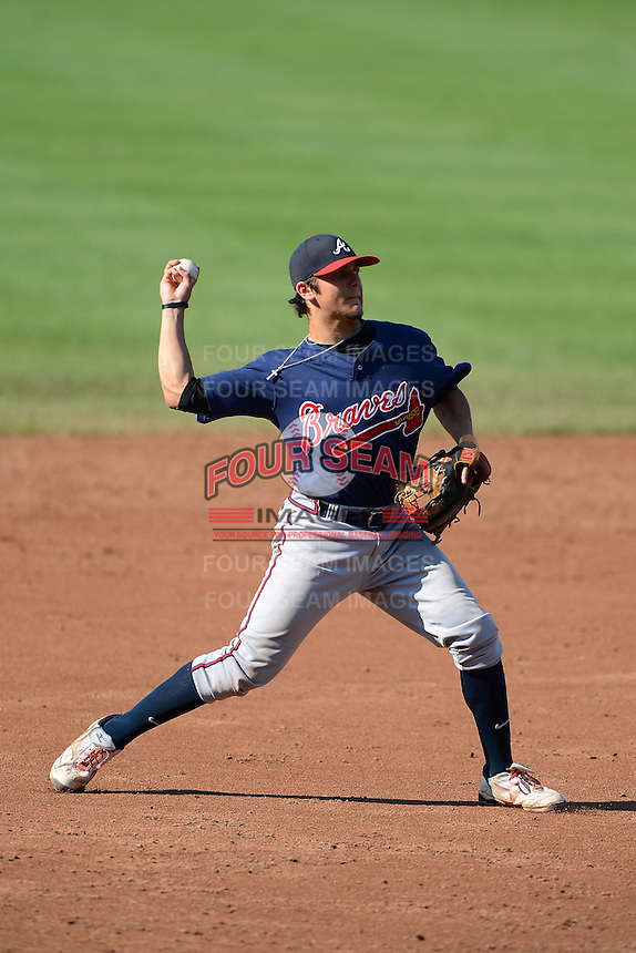 Michael Chavis (1) of Sprayberry High School in Marietta, Georgia playing for the Atlanta Braves scout team during the East Coast Pro Showcase on August 2, 2013 at NBT Bank Stadium in Syracuse, New York.  (Mike Janes/Four Seam Images)