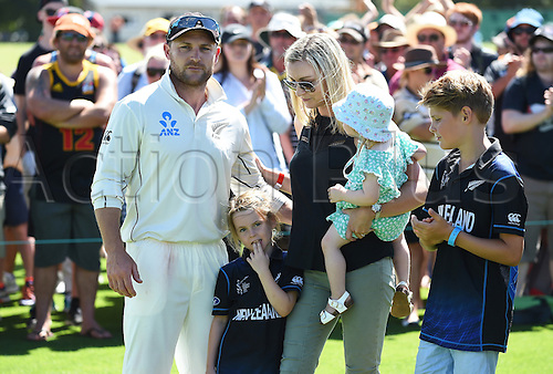 24.02.2016. Christchurch, New Zealand.  New Zealand captain Brendon McCullum and his family at the conclusion of play on Day 5 of the 2nd test match. New Zealand Black Caps versus Australia. Hagley Oval in Christchurch, New Zealand. Wednesday 24 February 2016.