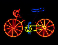 NEON BICYCLE: SCULPTURE BY RUDY STERN<br />