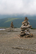 Rock cairns along the West Ridge Trail near the summit of Mount Cardigan Mountain in Orange , New Hampshire.