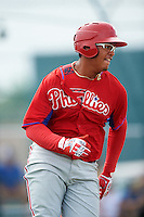 GCL Phillies designated hitter Jhailyn Ortiz (13) runs to first during a game against the GCL Pirates on August 6, 2016 at Pirate City in Bradenton, Florida.  GCL Phillies defeated the GCL Pirates 4-1.  (Mike Janes/Four Seam Images)