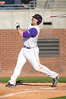 Kyle Roller #19 of the East Carolina Pirates follows through on his swing versus the Virginia Cavaliers at Clark-LeClair Stadium on February 19, 2010 in Greenville, North Carolina.   Photo by Brian Westerholt / Four Seam Images