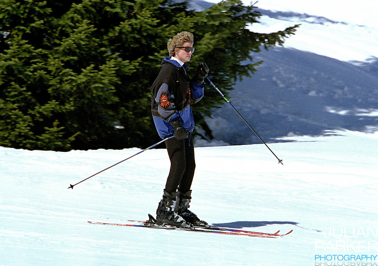 The Princess of Wales, Sking in Lech, Austria, during an annual ski holiday, with her sons, Prince William, and Prince Harry