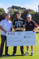 Super 6s champion Daniel Hillier (centre) with Palmerston North mayor Grant Smith and tournament sponsor Brian Green. Final day of the Jennian Homes Charles Tour / Brian Green Property Group New Zealand Super 6s at Manawatu Golf Club in Palmerston North, New Zealand on Sunday, 8 March 2020. Photo: Dave Lintott / lintottphoto.co.nz