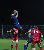 29th September 2017, RDS Arena, Dublin, Ireland; Guinness Pro14 Rugby, Leinster Rugby versus Edinburgh; Max Deegan (Leinster) gathers the high ball