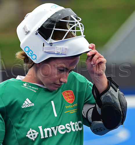 30.08.2015. Lea Valley, London, England. Unibet EuroHockey Championships Day 10. Gold Medal Final. England versus Netherlands. Maddie Hinch (ENG) focuses on her role in the final