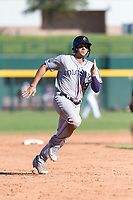 Salt River Rafters third baseman Josh Fuentes (19), of the Colorado Rockies organization, hustles towards third base during an Arizona Fall League game against the Mesa Solar Sox at Sloan Park on October 30, 2018 in Mesa, Arizona. Salt River defeated Mesa 14-4 . (Zachary Lucy/Four Seam Images)