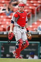 May 28, 2009:  Lehigh Valley IronPigs Catcher Lou Marson in the field during a game vs. the Buffalo Bisons at Coca-Cola Field in Buffalo, NY.  The IronPigs are the International League Triple-A affiliate of the Philadelphia Phillies.  Photo by:  Mike Janes/Four Seam Images