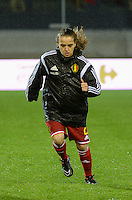 20151130 - LEUVEN ,  BELGIUM : Belgian Davina Philtjens pictured during the female soccer game between the Belgian Red Flames and Serbia , the third game in the qualification for the European Championship in The Netherlands 2017  , Monday 30 November 2015 at Stadion Den Dreef  in Leuven , Belgium. PHOTO DIRK VUYLSTEKE