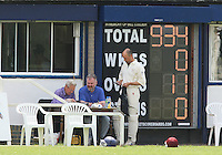 The scoreboard at Upminster CC seems to indicate that GPR have made a flying start to the match - Upminster CC vs Gidea Park & Romford CC - Essex Cricket League at Upminster Park - 27/06/09- MANDATORY CREDIT: Gavin Ellis/TGSPHOTO - Self billing applies where appropriate - 0845 094 6026 - contact@tgsphoto.co.uk - NO UNPAID USE.