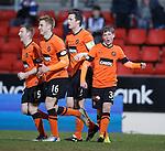 Ryan Gauld celebrates his goal for Dundee Utd