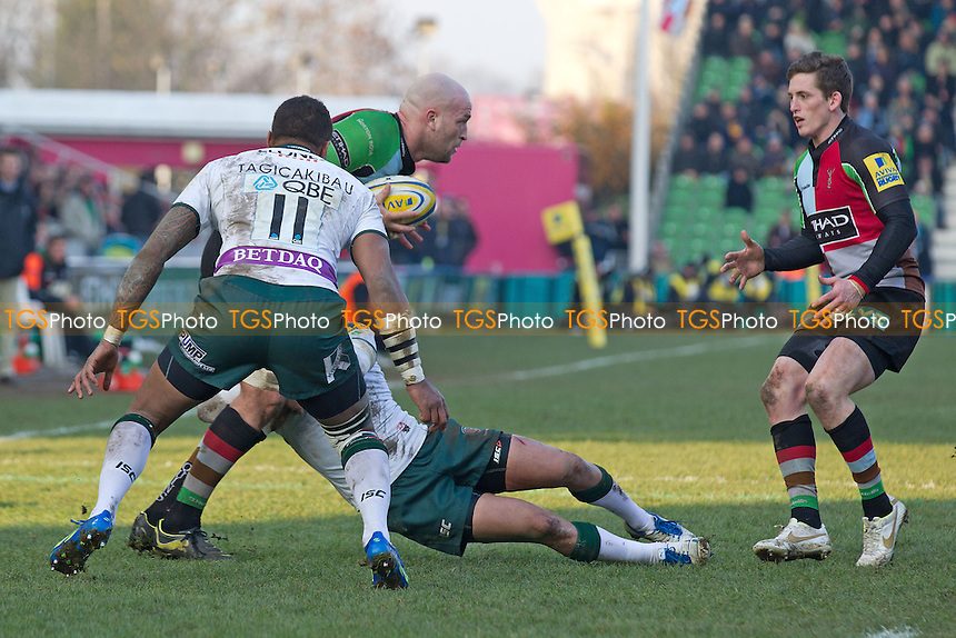 Last ditch defending from London Irish stops George Robson (c) of Harlequins RFC - Harlequins RFC vs London Irish RFC - Aviva Premiership Rugby at the Twickenham Stoop - 11/02/12 - MANDATORY CREDIT: Ray Lawrence/TGSPHOTO - Self billing applies where appropriate - 0845 094 6026 - contact@tgsphoto.co.uk - NO UNPAID USE.