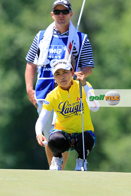 Sakura Yokomine (JPN) on the 9th green during Saturday's Round 3 of the 2015 KPMG Women's PGA Championship held at Westchester Country Club, Harrison, New York, USA. 6/13/2015.<br /> Picture &copy; Golffile/Eoin Clarke