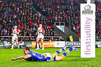 Picture by Alex Whitehead/SWpix.com - 28/03/2014 - Rugby League - First Utility Super League - St Helens v Leeds Rhinos - Langtree Park , St Helens, England - Leeds' Danny McGuire scores a try.