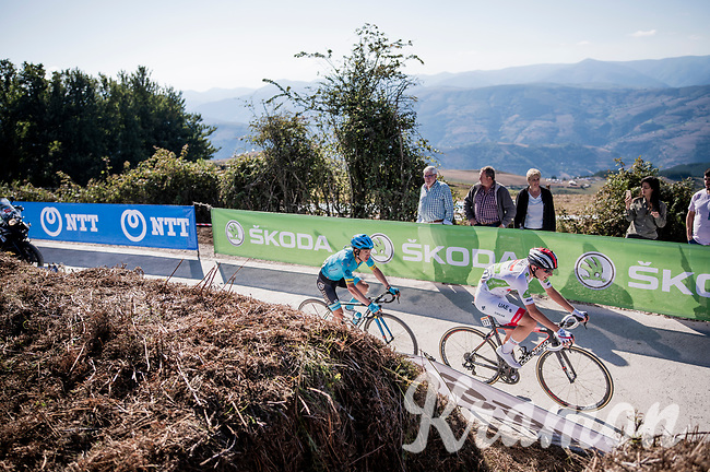 white jersey / best young rider contenders Tadej Pogačar (SVN/UAE-Emirates) & Miguel 'Superman' Angel Lopez (COL/Astana)<br /> <br /> Stage 15: Tineo to Santuario del Acebo (154km)<br /> La Vuelta 2019<br /> <br /> ©kramon