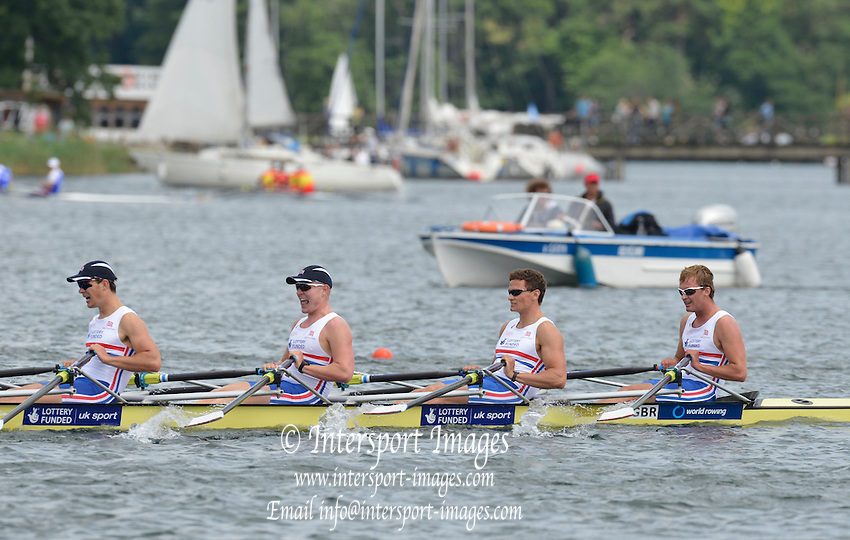 Trackai. LITHUANIA. ..Semi Final men's quadruple  sculls to qualify for Sundays final GBR BM4X Bow. Samuel KNIGHT, Joshua BUGAJSKI, Edward COULDWELL and Angus GROOM. at the 2012 FISA U23 World Rowing Championships,  Lake Galve.  2012 FISA U23 World Rowing Championships.  Lake Galve. ..15:35:26  Saturday  14/07/2012 [Mandatory Credit: Peter Spurrier/Intersport Images]..Rowing. 2012. U23.