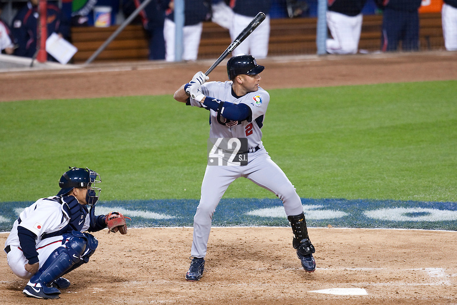 22 March 2009: #2 Derek Jeter of USA is seen at bat during the 2009 World Baseball Classic semifinal game at Dodger Stadium in Los Angeles, California, USA. Japan wins 9-4 over Team USA.