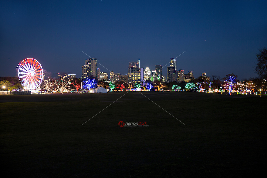 Austin Trail of Lights and Ferris wheel shines bright with thousands of multi-color Christmas lights against the Austin Skyline. This is a perfect outing to get into the cheerful Christmas spirit.