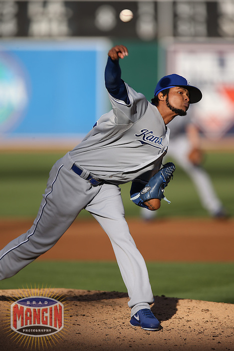 OAKLAND, CA - MAY 18:  Ervin Santana #54 of the Kansas City Royals pitches against the Oakland Athletics during the game at O.co Coliseum on Saturday May 18, 2013 in Oakland, California. Photo by Brad Mangin