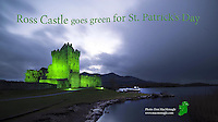 Ross Castle, Killarney, former home of The O'Donoghue Clan and nestled on the shore on Lough Lein glows brightly in emerald green as part of the four day 'worldwide greening' for St. Patrick's Day..Picture by Don MacMonagle
