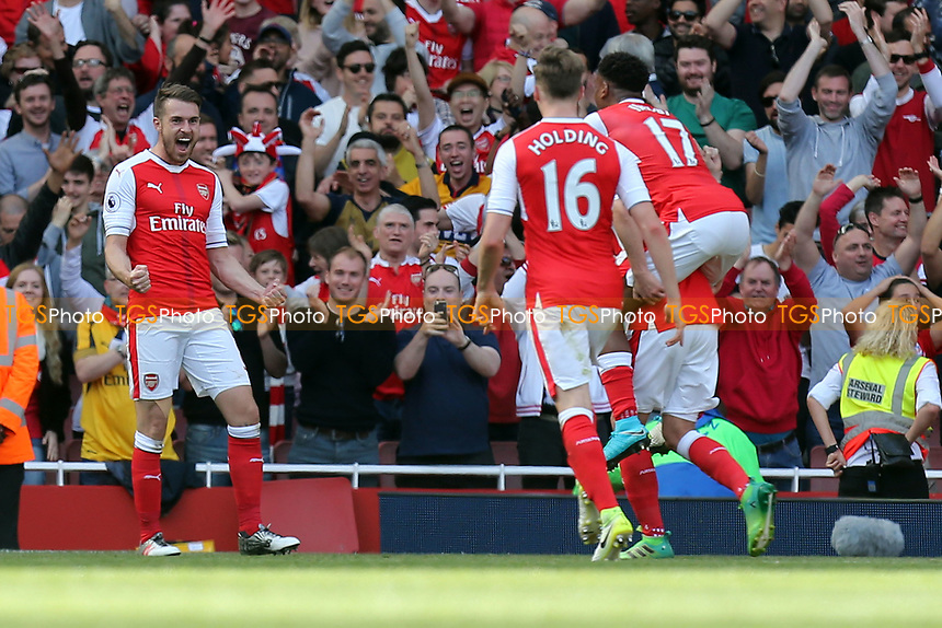 Aaron Ramsey of Arsenal is congratulated after scoring the third goal during Arsenal vs Everton, Premier League Football at the Emirates Stadium on 21st May 2017
