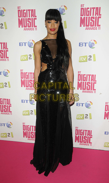 Sarah-Jane Crawford.BT Digital Music Awards held at the Roundhouse, Chalk Farm, London, England..September 29th 2011.full length black maxi dress sleeveless sheer mesh cut out away sides .CAP/CAN.©Can Nguyen/Capital Pictures.