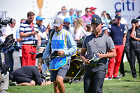 Si Woo Kim (KOR) departs the first tee during round 4 Singles of the 2017 President's Cup, Liberty National Golf Club, Jersey City, New Jersey, USA. 10/1/2017. <br /> Picture: Golffile | Ken Murray<br /> <br /> All photo usage must carry mandatory copyright credit (&copy; Golffile | Ken Murray)