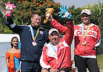 November 17 2011 - Guadalajara, Mexico:  Lewis Denton (USA-Bronze) Robert Hudson (CAN-silver) Kevin Evans (CAN-Gold) after after receiving their Medal from the Men's Individual Compound in the Archery Stadium at the 2011 Parapan American Games in Guadalajara, Mexico.  Photos: Matthew Murnaghan/Canadian Paralympic Committee