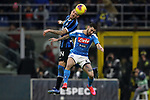 Cristiano Biraghi of Inter and Matteo Politano of Napoli contest for an aerial ball during the Coppa Italia match at Giuseppe Meazza, Milan. Picture date: 12th February 2020. Picture credit should read: Jonathan Moscrop/Sportimage